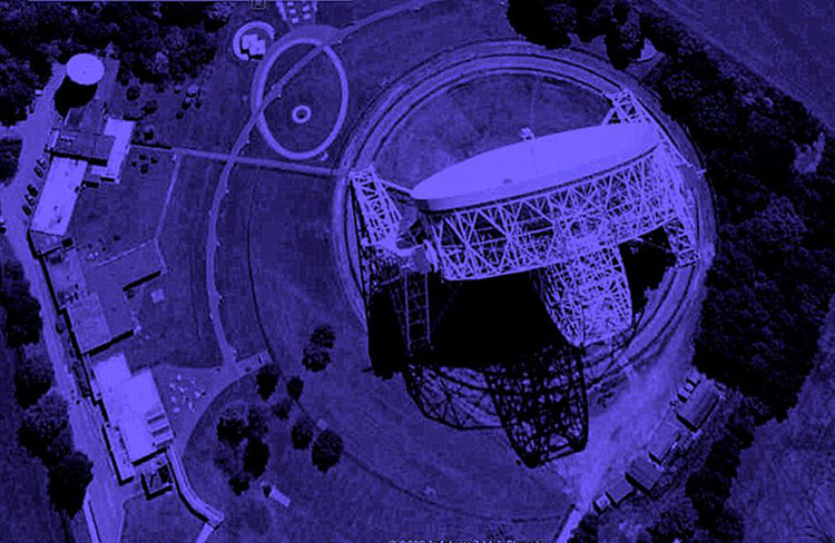 Night aerial view of Jodrell- Bank